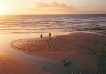 Sun setting over sandy coastline