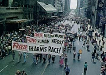 Marchers on city street