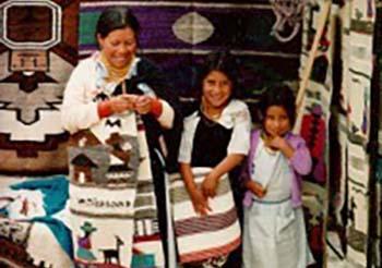 Indigenous women weaving